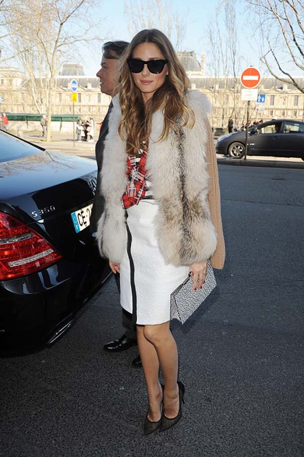 Olivia Palermo arrives to Andrew GN fashion show in Paris