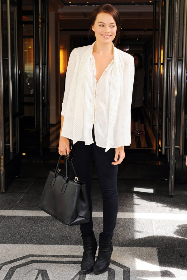 Margot Robbie leaves her hotel in New York